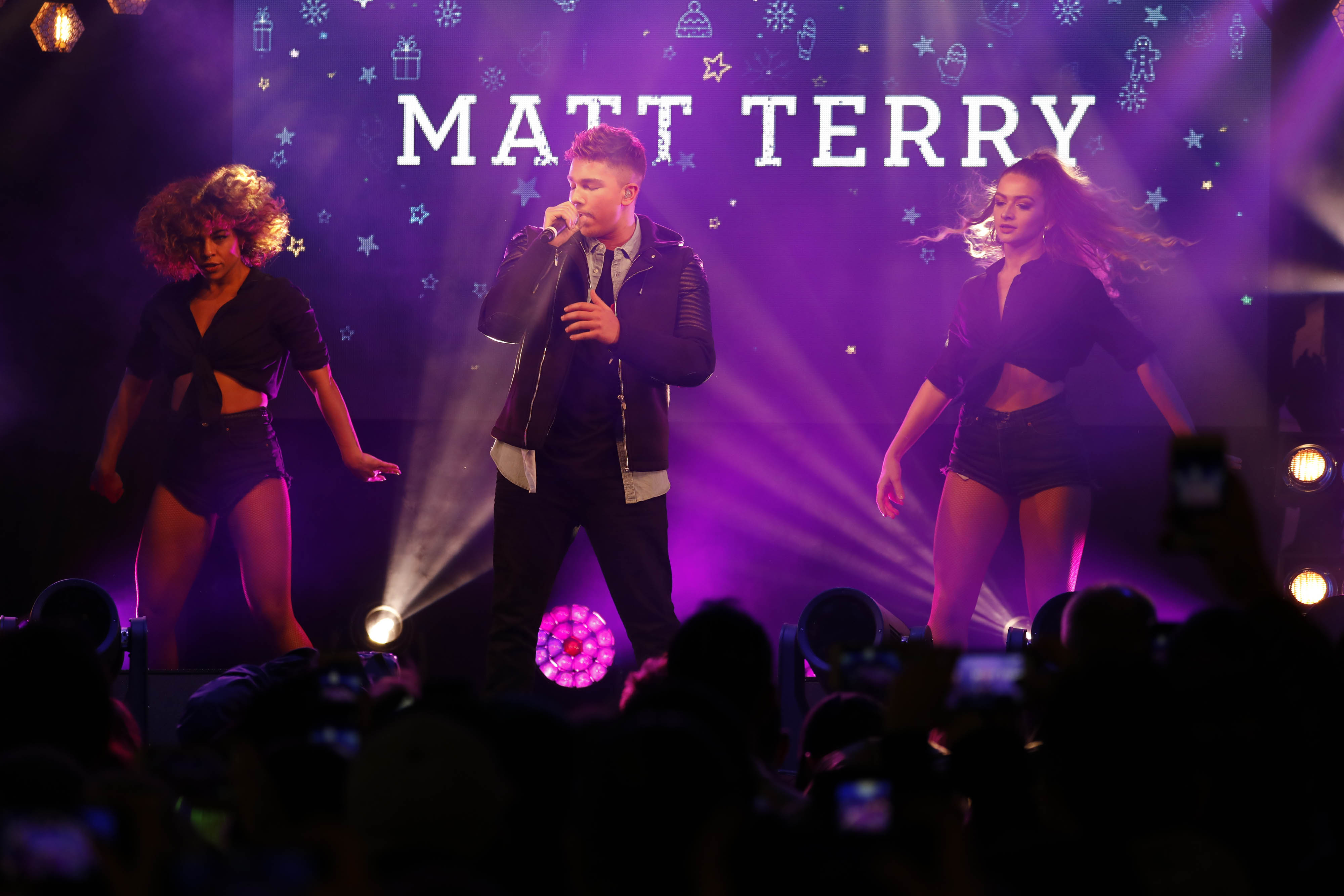 EDITORIAL USE ONLY X Factor 2016 winner Matt Terry performs at the Oxford Street Christmas Lights Switch On in central London, in partnership with NSPCC 'Light Up Christmas for Children' campaign. PRESS ASSOCIATION Photo. Picture date: Tuesday November 7, 2017. Now in its 58th year of celebrations, the Oxford Street Christmas Lights will use 750,000 LED bulbs and 1,778 baubles in a snowfall theme blanketing the whole mile of shopping street. Photo credit should read: David Parry/PA Wire