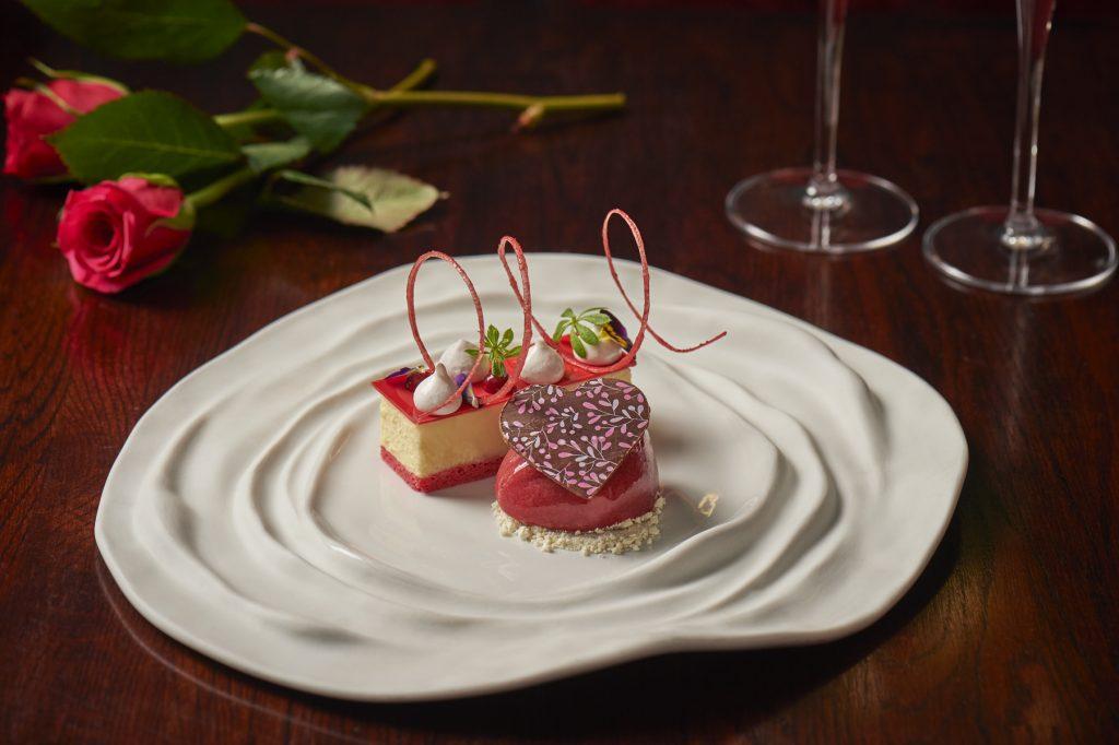 aqua kyoto Valentine's Day dessert_White chocolate and umeboshi pave sour cherry sorbet