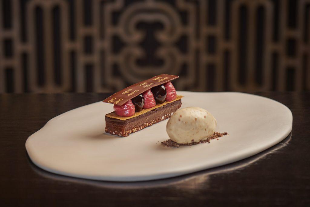 aqua nueva Valentine's Day dessert_Dark chocolate and cherry tart, Marcona almond ice cream